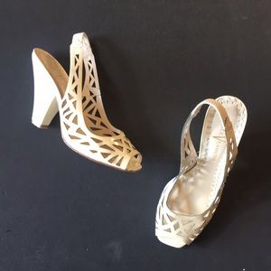 Vince Camuto cream laser cut wedge heel mules